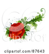 Royalty Free RF Clipart Illustration Of A Bloomed Red Rose With Green Foliage Over Splatters