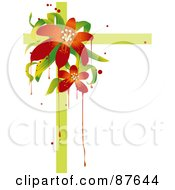 Red Lily And Green Ribbon Background With Drips Over White