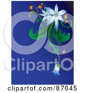 Royalty Free RF Clipart Illustration Of A Blue Background With Blue Flowers Green Foliage And Berries