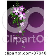 Royalty Free RF Clipart Illustration Of A Purple Background With Purple Flowers And Green Foliage