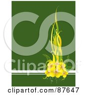 Royalty Free RF Clipart Illustration Of A Green Background With White Lines And Yellow Flowers