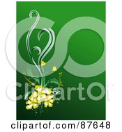 Royalty Free RF Clipart Illustration Of A Green Background With Yellow Flowers And Green Foliage