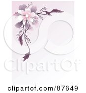 Royalty Free RF Clipart Illustration Of A Pastel Purple Background With A Pink Flower And Purple Foliage