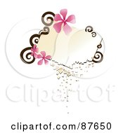 Blank Crumbling Text Box With Brown Swirls And Pink Flowers