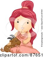 Royalty Free RF Clipart Illustration Of An Astrological Cute Capricorn Girl Petting A Goat by BNP Design Studio