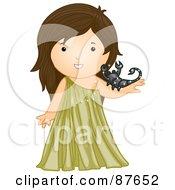 Astrological Cute Scorpio Girl Holding A Scorpion