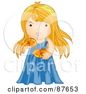 Royalty Free RF Clipart Illustration Of An Astrological Cute Pisces Girl Holding Fish by BNP Design Studio