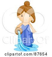Astrological Cute Aquarious Girl Pouring Water