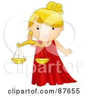 Astrological Cute Libra Girl Holding Scales
