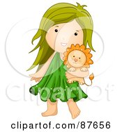 Royalty Free RF Clipart Illustration Of An Astrological Cute Leo Girl Carrying A Lion by BNP Design Studio