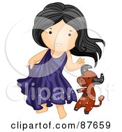 Royalty Free RF Clipart Illustration Of An Astrological Cute Taurus Girl Playing With A Bull by BNP Design Studio