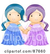 Royalty Free RF Clipart Illustration Of Astrological Cute Gemini Girls Holding Hands