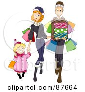 Royalty Free RF Clipart Illustration Of A Happy Family Of Three Shopping Together by BNP Design Studio