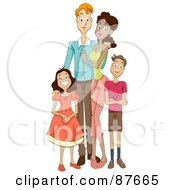 Royalty Free RF Clipart Illustration Of A Happy Mixed Face Family Of Four