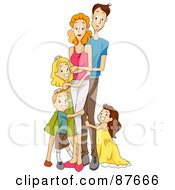 Royalty Free RF Clipart Illustration Of A Pleasant Caucasian Family Of Five Standing