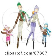 Royalty Free RF Clipart Illustration Of A Happy Caucasian Family Of Four Ice Skating