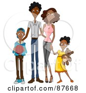 Royalty Free RF Clipart Illustration Of A Happy African American Family Of Four by BNP Design Studio