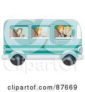 Royalty Free RF Clipart Illustration Of A Happy Caucasian Family Of Five Traveling In Their Van by BNP Design Studio