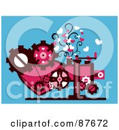 Royalty Free RF Clipart Illustration Of A Heart And Gear Cog Machine Generating Love by BNP Design Studio