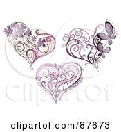 Royalty Free RF Clipart Illustration Of A Digital Collage Of Three Purple Floral Vines And Hearts