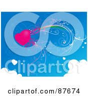 Royalty Free RF Clipart Illustration Of A Pink Vine Heart In A Blue Sky With Clouds
