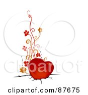 Royalty Free RF Clipart Illustration Of A Red Heart With Floral Vines Stuck In Broken Ground