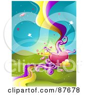 Royalty Free RF Clipart Illustration Of A Background Of Winged Hearts Birds And Waves Over Hills