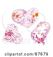 Royalty Free RF Clipart Illustration Of A Digital Collage Of Three Pink Floral Vines And Hearts