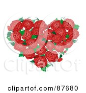 Bouquet Of Red Roses And Green Leaves Forming A Heart