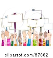 Royalty Free RF Clipart Illustration Of A Group Of Diverse Rally Hands Holding Up Blank Signs