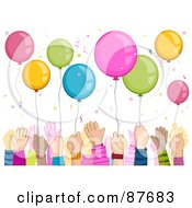 Royalty Free RF Clipart Illustration Of A Crowd Of Kids Hands Reaching For Balloons Under Confetti by BNP Design Studio