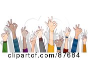 Royalty Free RF Clipart Illustration Of A Crowd Of Ok Hands Reaching Up by BNP Design Studio