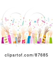 Royalty Free RF Clipart Illustration Of A Diverse Crowd Of Hands Waving In The Air Under Confetti