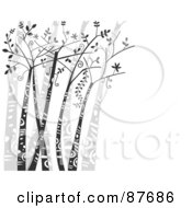 Royalty Free RF Clipart Illustration Of A Background Of Trees With Tribal Markings Over White With Copy Space