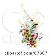 Royalty Free RF Clipart Illustration Of A Vines And Hearts Shooting Out Of An Anniversary Or Valentines Day Present