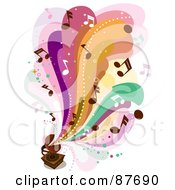 Royalty Free RF Clipart Illustration Of Colorful Waves And Music Notes Flowing Out Of A Vintage Gramophone by BNP Design Studio