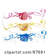 Royalty Free RF Clipart Illustration Of A Digital Collage Of Red Yellow And Blue Heart Shaped Gift Boxes With Ribbons by BNP Design Studio