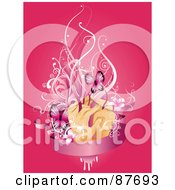Royalty Free RF Clipart Illustration Of A Hands With Vines Flowers And Butterflies Over A Blank Pink Banner On Pink by BNP Design Studio