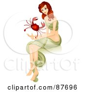 Royalty Free RF Clipart Illustration Of A Beautiful Horoscope Cancer Woman Holding A Crab by BNP Design Studio
