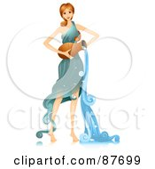 Royalty Free RF Clipart Illustration Of A Beautiful Horoscope Aquarius Woman Pouring Water by BNP Design Studio