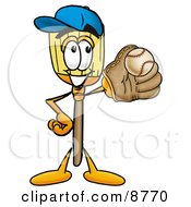 Clipart Picture Of A Broom Mascot Cartoon Character Catching A Baseball With A Glove by Toons4Biz
