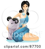 Beautiful Horoscope Aries Woman Sitting Beside A Ram