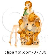 Royalty Free RF Clipart Illustration Of A Beautiful Horoscope Leo Woman Sitting On And Petting A Lion by BNP Design Studio