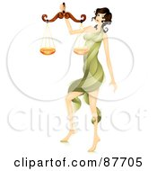 Royalty Free RF Clipart Illustration Of A Beautiful Horoscope Libra Woman Carrying A Scale