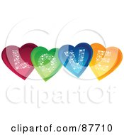 Royalty Free RF Clipart Illustration Of Shiny Colorful Hearts Spelling Out LOVE