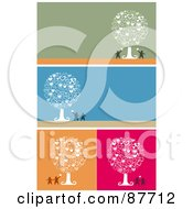 Royalty Free RF Clipart Illustration Of A Digital Collage Of Couples An Heart Trees On Green Blue Orange And Pink Backgrounds