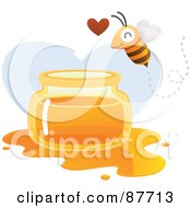 Royalty Free RF Clipart Illustration Of A Happy Bee Flying Over A Spilled Jar Of Honey by Qiun #COLLC87713-0141
