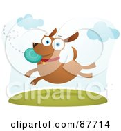 Royalty Free RF Clipart Illustration Of A Energetic Dog Leaping To Catch A Frisbee In A Park