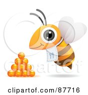 Hungry Bee With A Bib Flying By Honey Drops