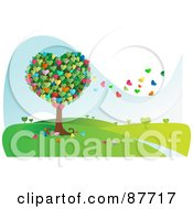 Royalty Free RF Clipart Illustration Of A Colorful Heart Tree With Leaves Floating Away In The Breeze